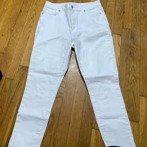 Loft High-Waisted White Jeans